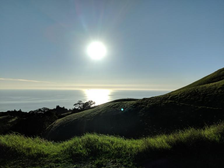 Afternoon sun over the water at Mount Tamalpais