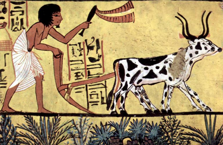 Egyptian agriculture, painting from the burial chamber of Sennedjem, via Wikimedia Commons