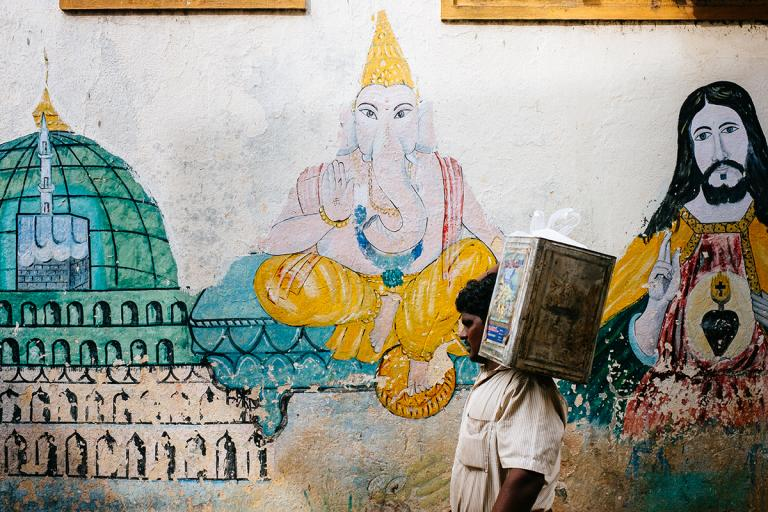 Street art on side street in Chennai photo