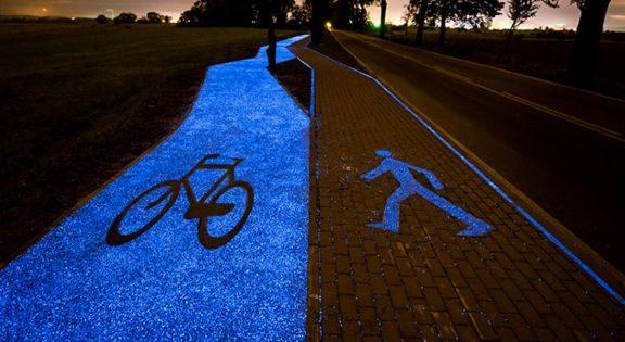 glowing bike paths poland holland