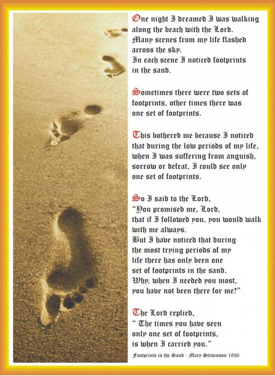 jesus footprints sand christianity atheism reality