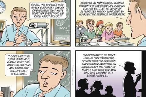 humor evolution creationism christianity doonesbury louisiana