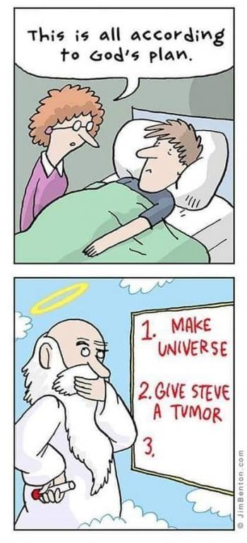 humor cartoon god human beings cancer