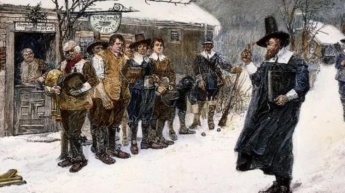 christmas puritans christian nation secularism colonial america
