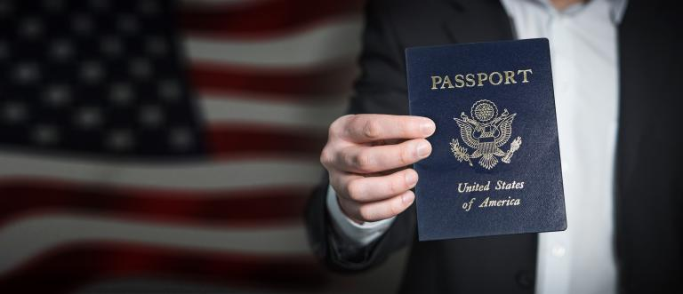 Showing a passport for immigration