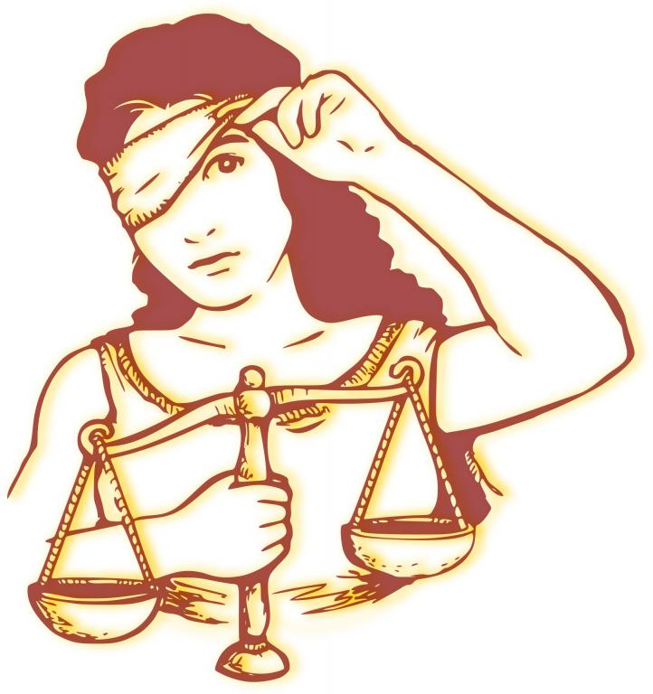 Lady Justice peeking out