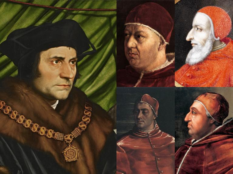Thomas More with Leo X, Julius II, Clement VII and Alexander VI (all public domain via Wikimedia)
