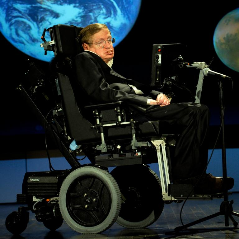 Stephen Hawking speaking to NASA (public domain as a US government photo)