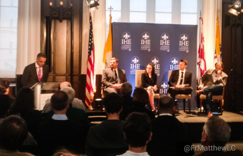 The panelists being introduced. They are (L to R): J. D. FLynn, ELizabeth Bruenig, Christopher White, and Ross Douthat (my photo)