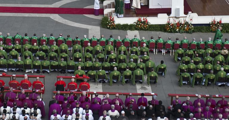 Concelebrants with Pope Benedict XVI at the mass to open the year of faith