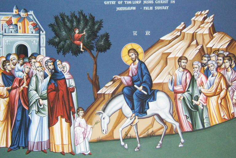 A Serbian Icon of Jesus Entry to Jerusalem