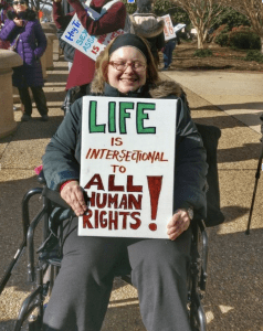 Woman in a wheelchair at the 2017 March for Life (my photo)