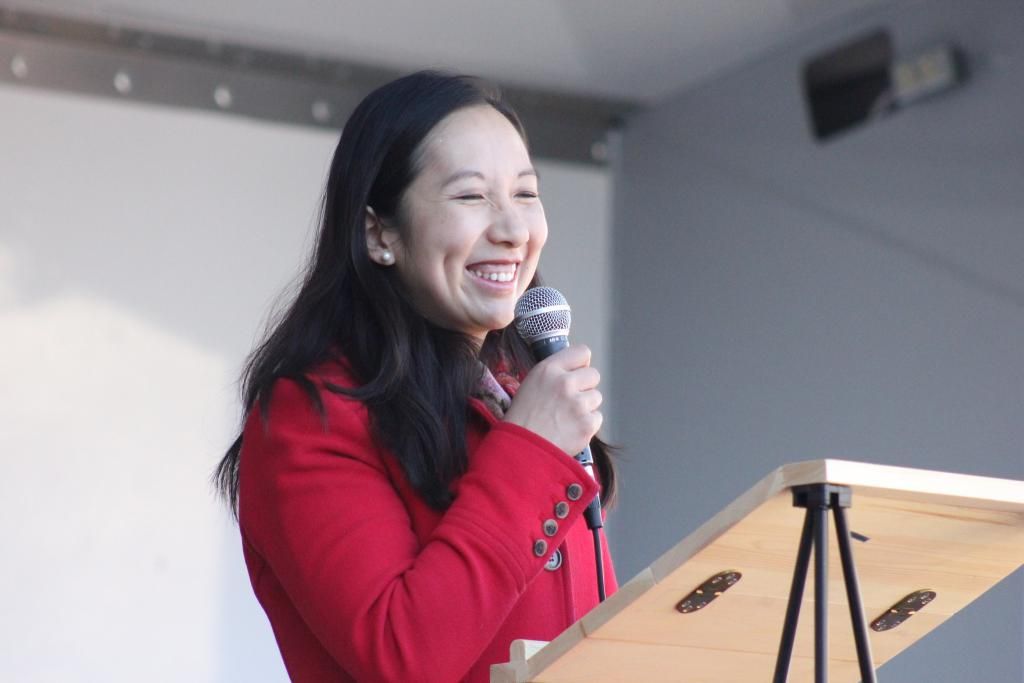 Dr Leana Wen talking at the women's March in Baltimore on January 20, 2018