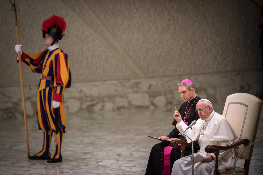 Pope Francis at an audience on Feb 7 2018