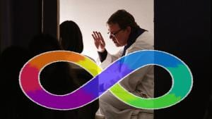 A priest confessing with the autistic infinity symbol