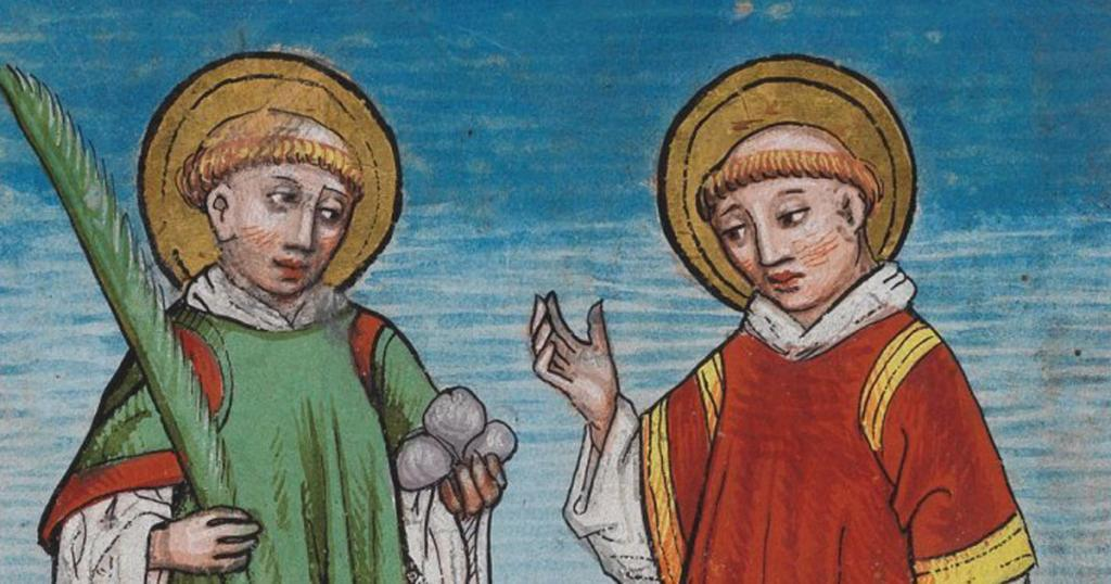 St. Stephen and St. Lawrence; Detail from the Waldburg Prayer Book