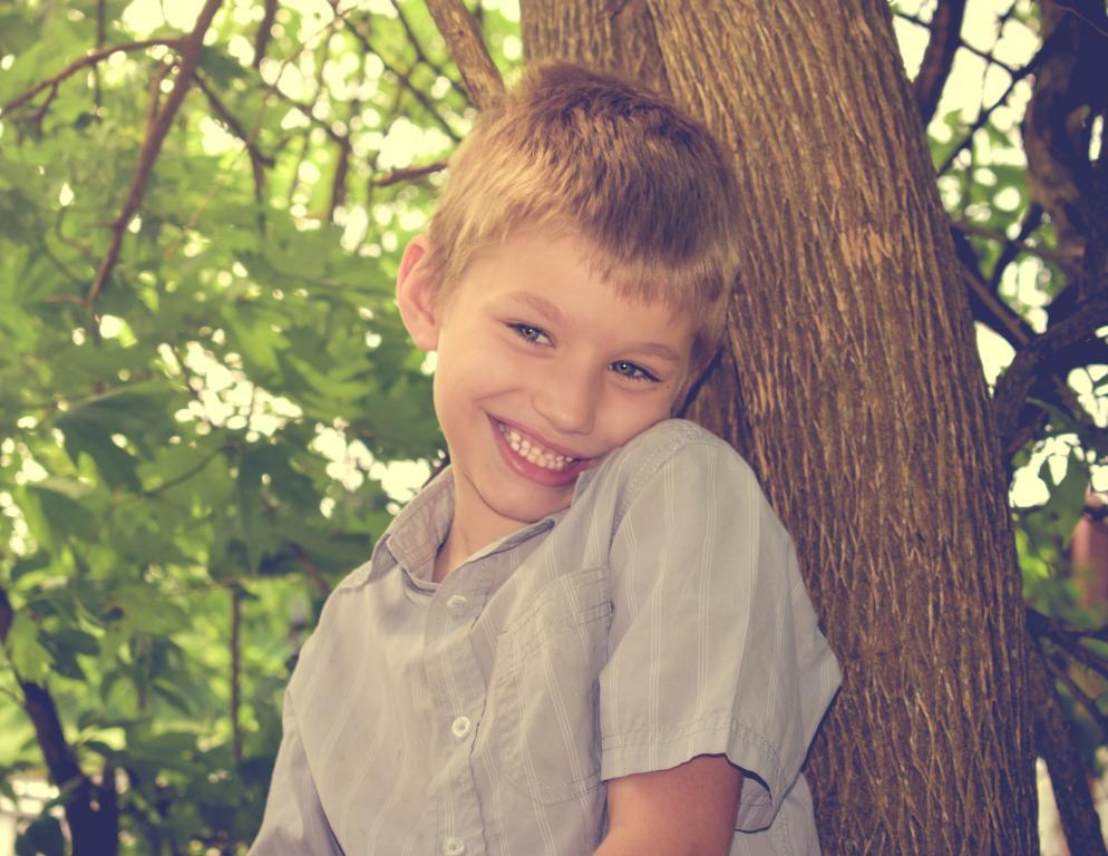Happy autistic boy