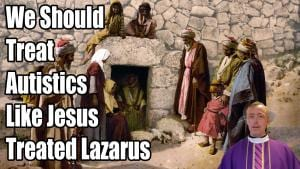 Lazarus's tomb with title text.
