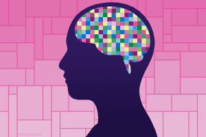 drawing of a person's silhouette with a brain made of multicolored squares