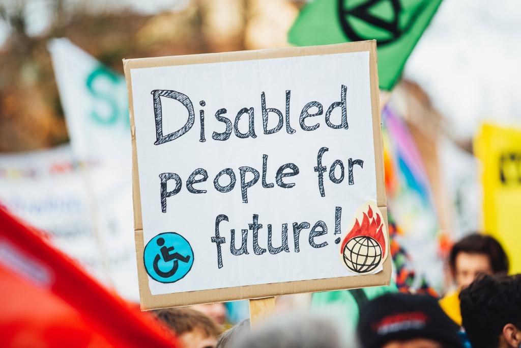 """Disabled people for the Future"" on sign"