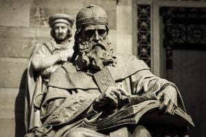Statute of St. Isidore in front of the National Library of Spain