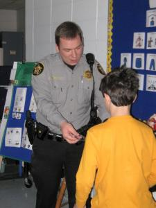 Police Officer visiting Special Ed class