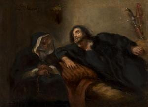 The confession of the Giaour. Painting by Eugène Delacroix