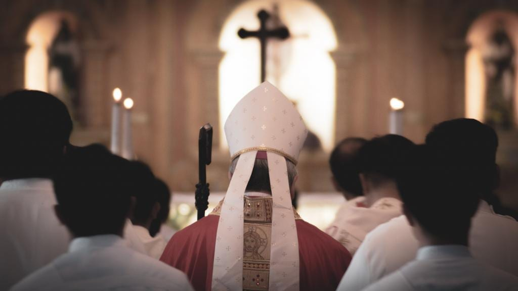 Bishop from the back in a liturgical procession