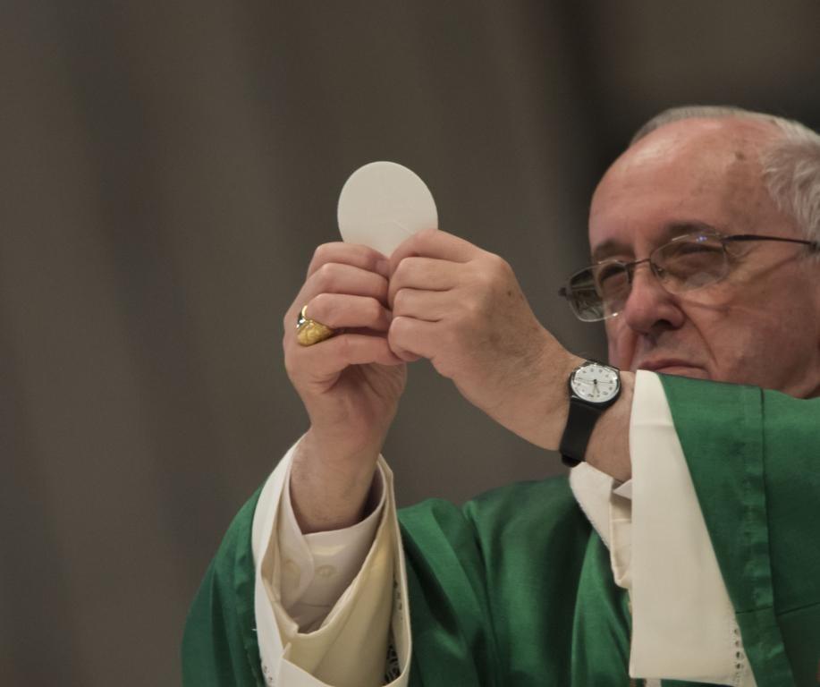 Pope Francis Celebrating the Eucharist on February 23, 2014