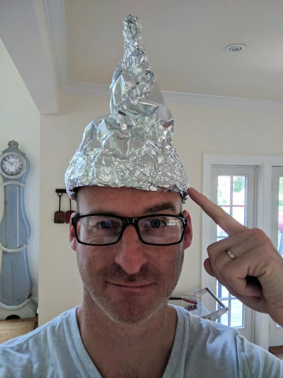 Man with a tin foil hat