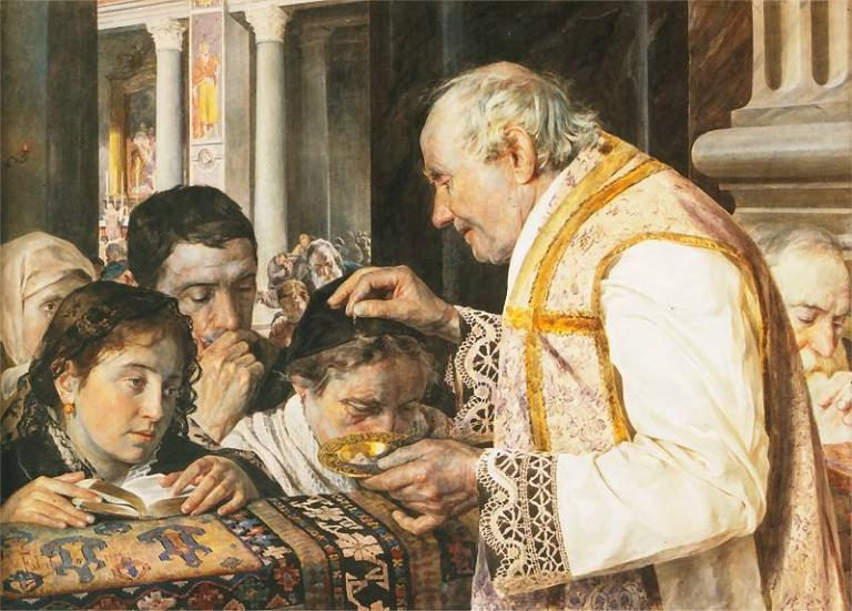 Julian Fałat, Popielec (Ash Wednesday), 1881, showing ashes on the crown of the head was normal in Poland.