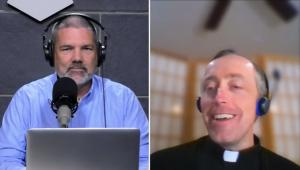 Cy Kellet and Fr. Matthew Schneider, LC during the broadcast