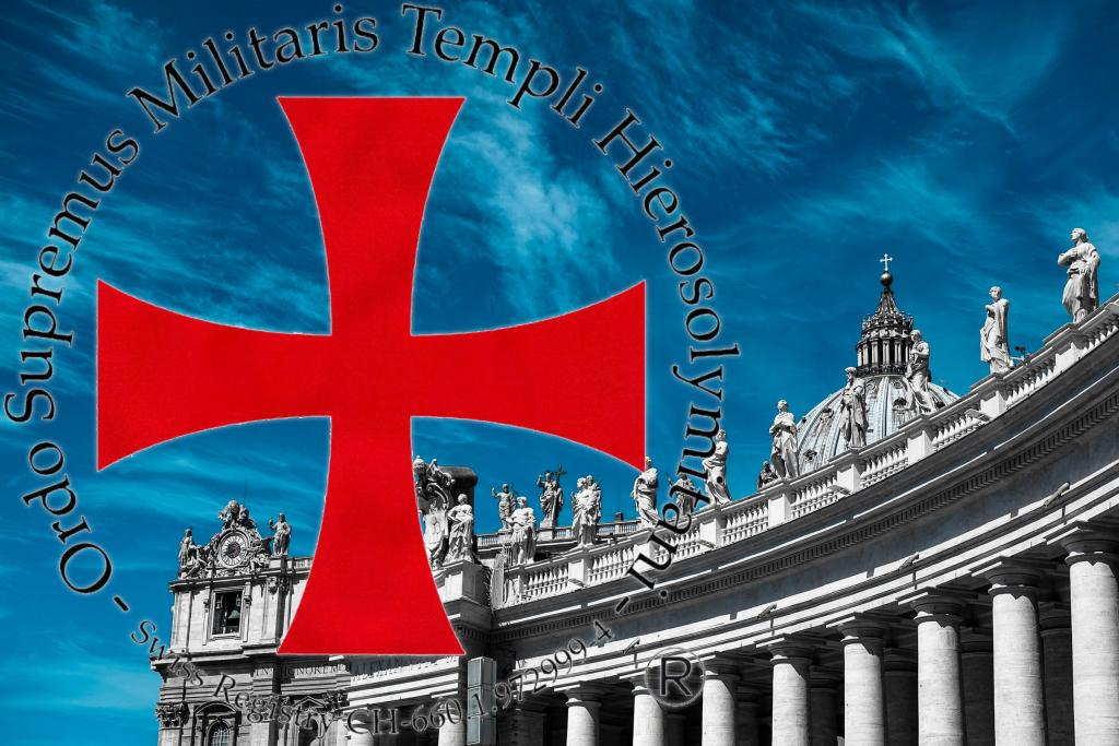 Logo of Sovereign Military Order Temple of Jerusalem on a picture of St. Peter's Basilica