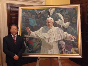 Shen Jiawei with his Portrait of Pope Francis presented to His Holiness on 28 April 2014