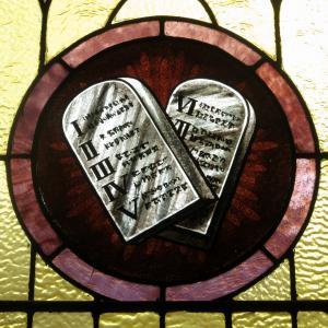 Stained glass of the Ten Commandments from St. Joseph Church in Wapakoneta, Ohio