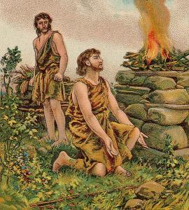 Abel offers a sacrifice to God while Cain looks on with rivalry in his heart.