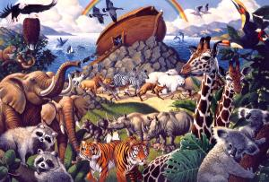 Animals coming off the Ark and a world renewed.
