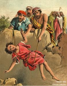 Joseph's brothers throw him into the pit.