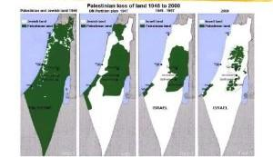 Maps showing loss of Palestinian loss of land since 1948.