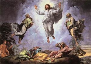 Jesus transfigured with Moses and Elijah while disciples are thunderstruck.