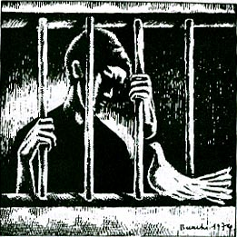 A human figure behind prison bars looks down on a white dove.