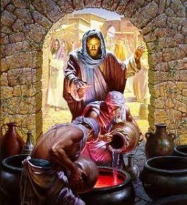 An image of Jesus' first miracle at the wedding feast at Cana.