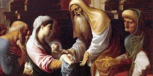 Simeon reaches toward the Baby Jesus in Mary's arms as Joseph and Anna look on.