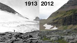 Two views of a glacier showing how it has lost most of its extent over a period of 100 years.
