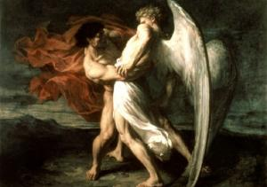 An angel wrestles with Jacob