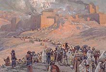 Jerusalem is burning in the background as a crowd of Israelites goes into exile.