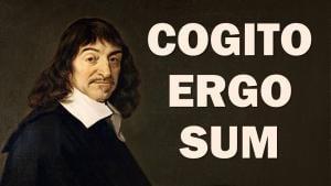 """An image of Rene Descartes with the legend, """"Cogito ergo sum."""""""