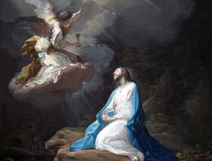 An angel brings a cup to the agony-filled Jesus.