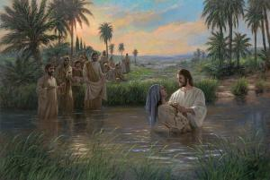 Jesus is baptizing a person in the Jordan River while others wait on shore.