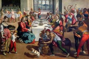 Jesus at table with what looks like a very merry crowd.